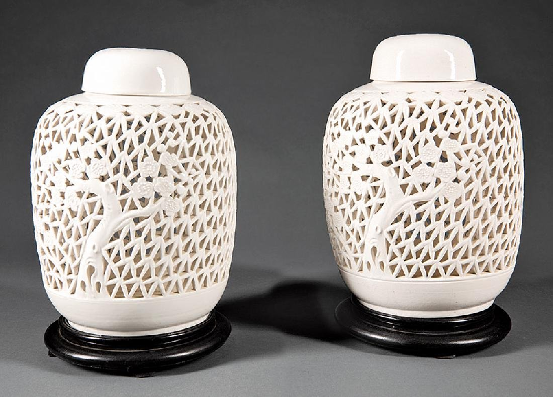 Chinese White Glazed Pottery Covered Lanterns