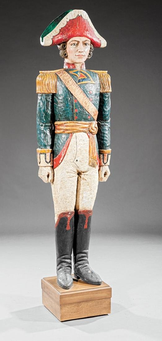 Carved and Polychromed Wood Figure of a Soldier