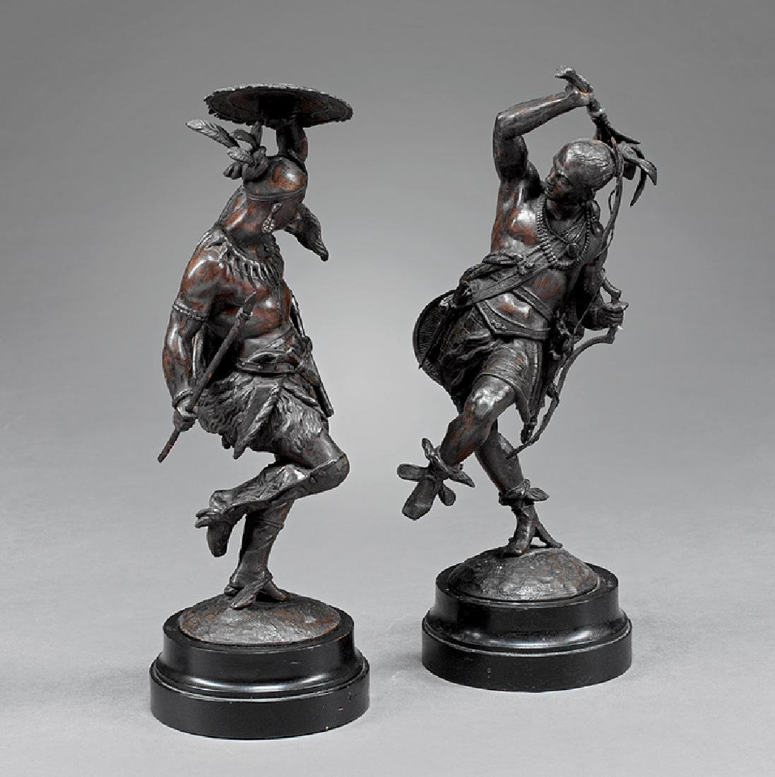 French Patinated Metal Figures of Native Warriors