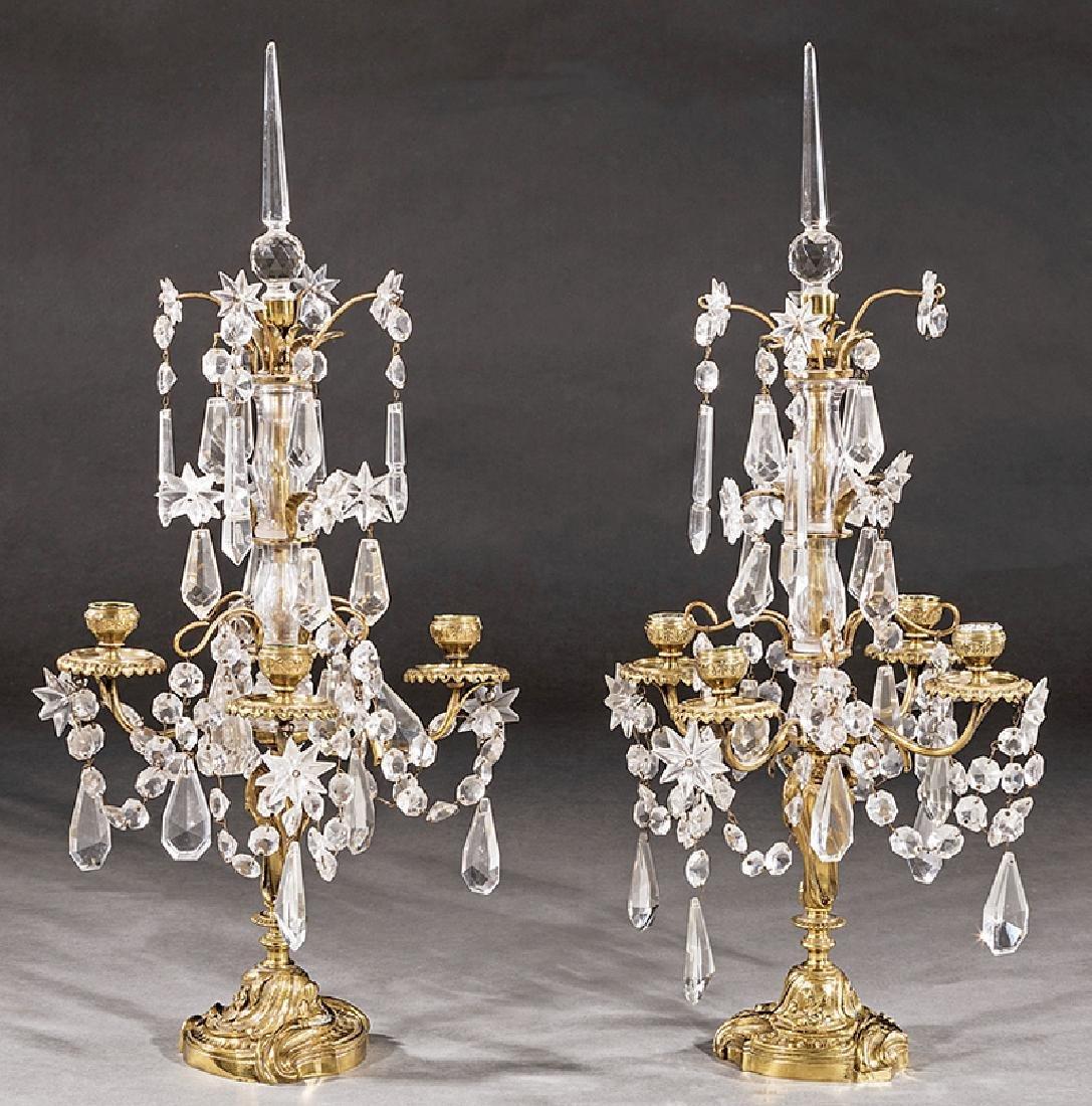 French Brass, Cut Crystal Four-Light Girandoles