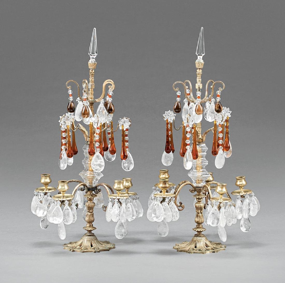 French Bronze, Amber and Rock Crystal Girandoles