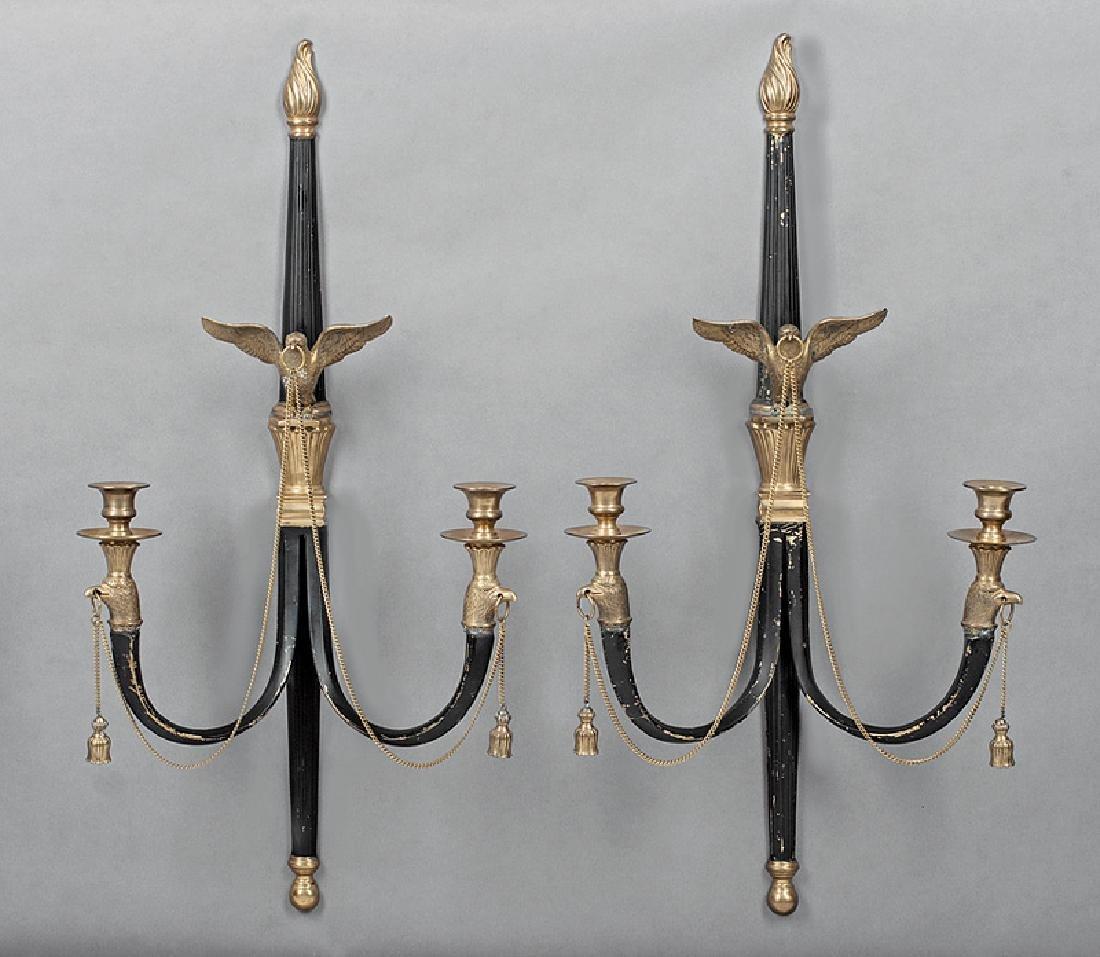 Neoclassical Bronze and Ebonized Sconces