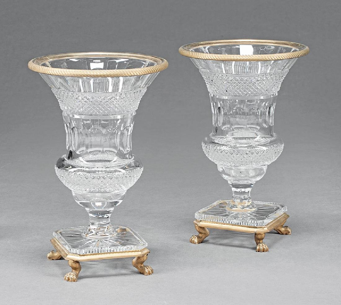 Gilt Bronze-Mounted Cut Crystal Urns