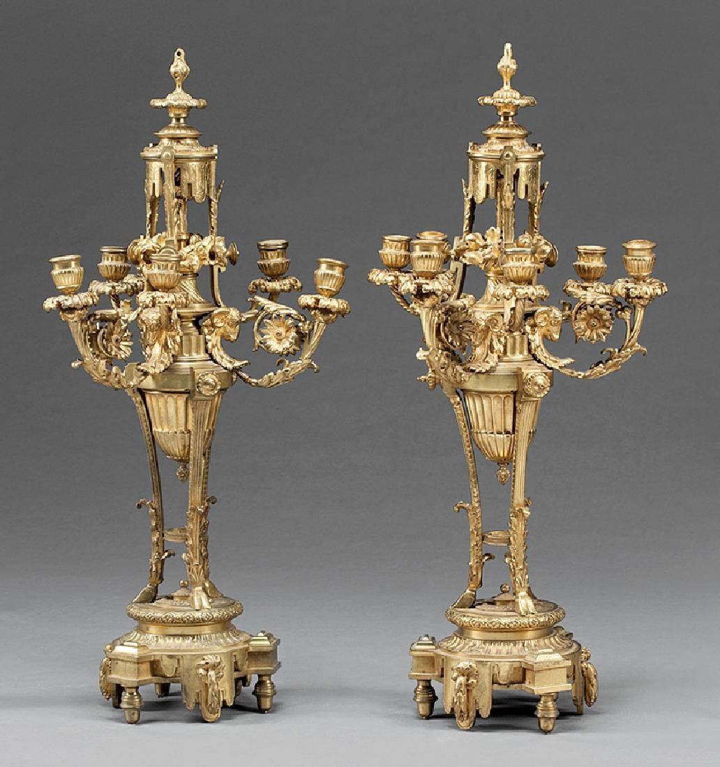 Louis XVI-Style Gilt Bronze Six-Light Candelabra