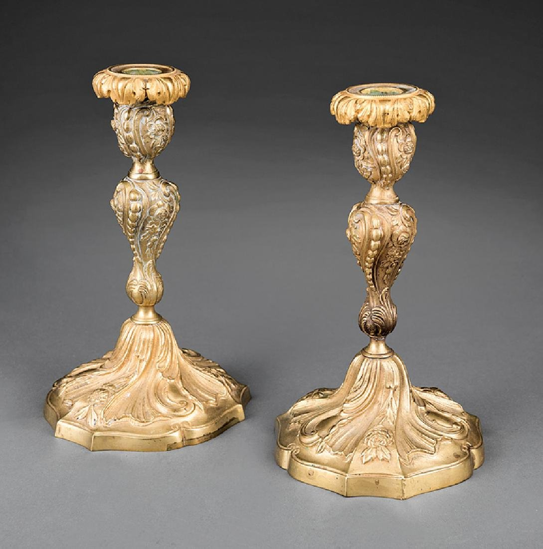 Pair of French Rococo-Style Bronze Candlesticks