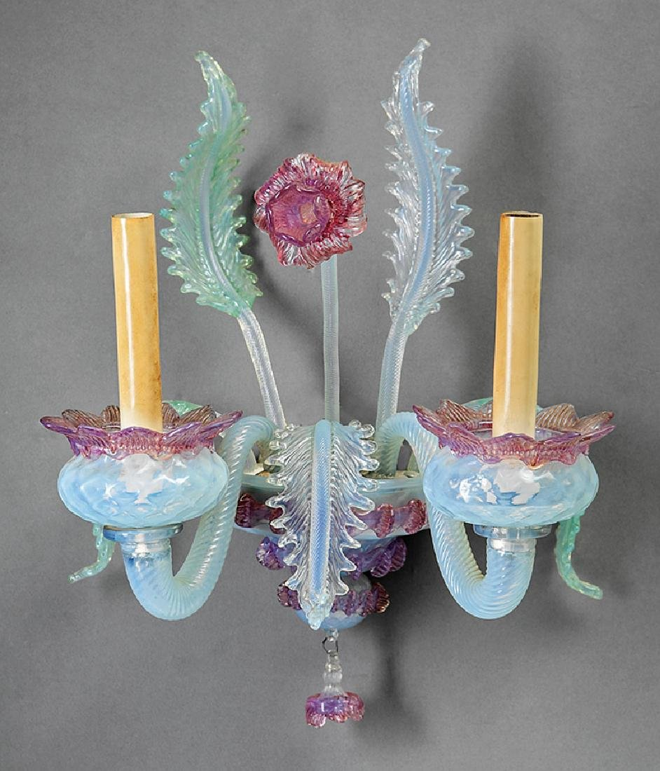 Three Murano Glass Two-Light Wall Sconces
