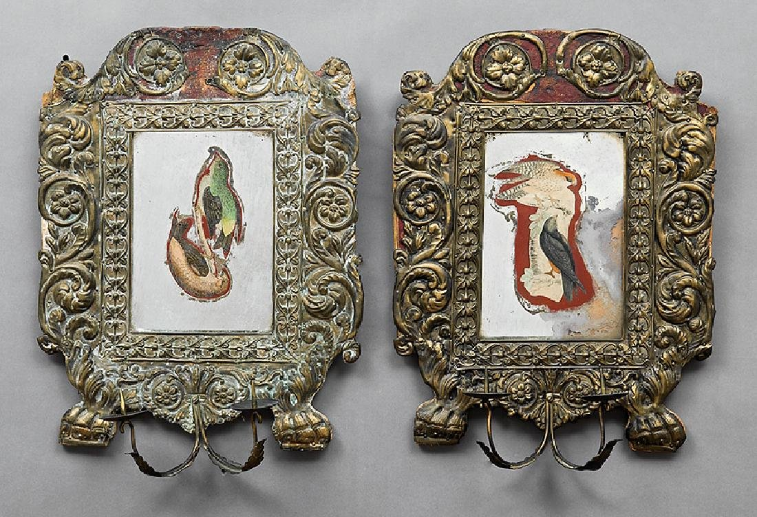 Two Italian Pressed Brass and Mirrored Sconces