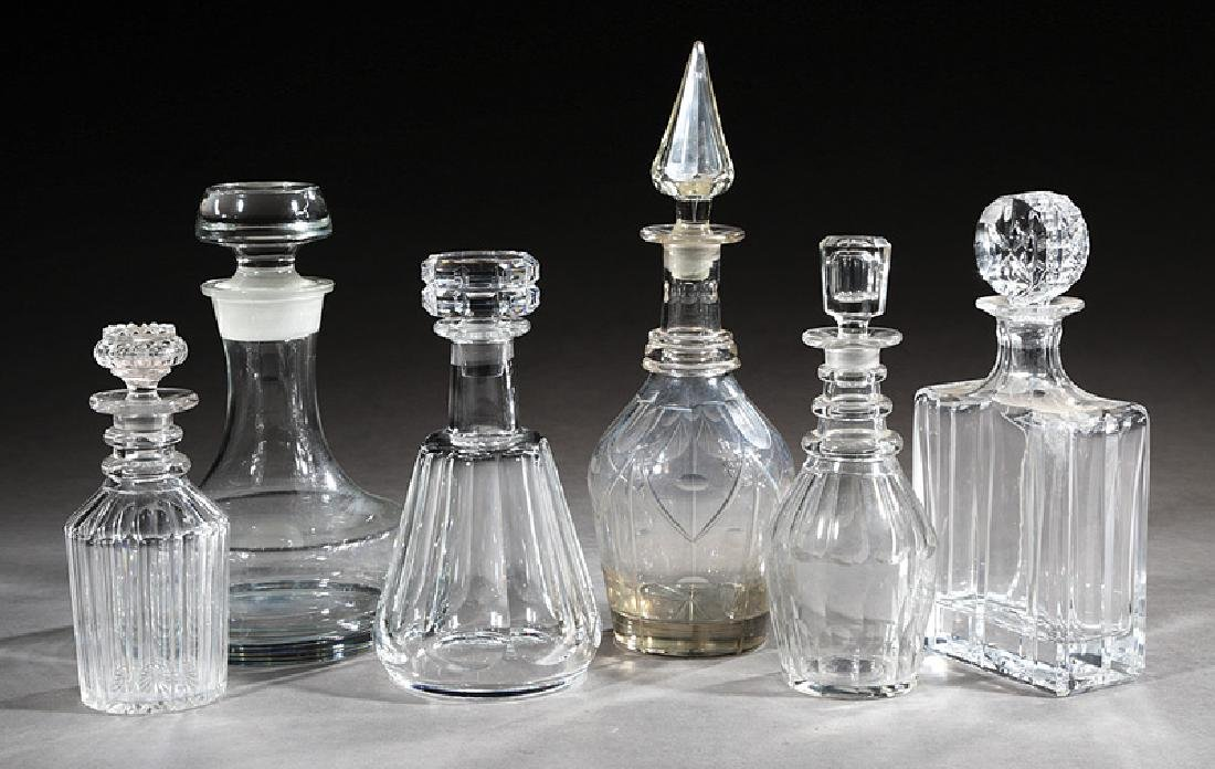 Six Continental Cut Crystal Decanters