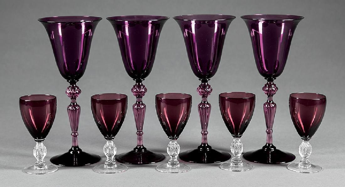 Nine Amethyst Crystal Goblets