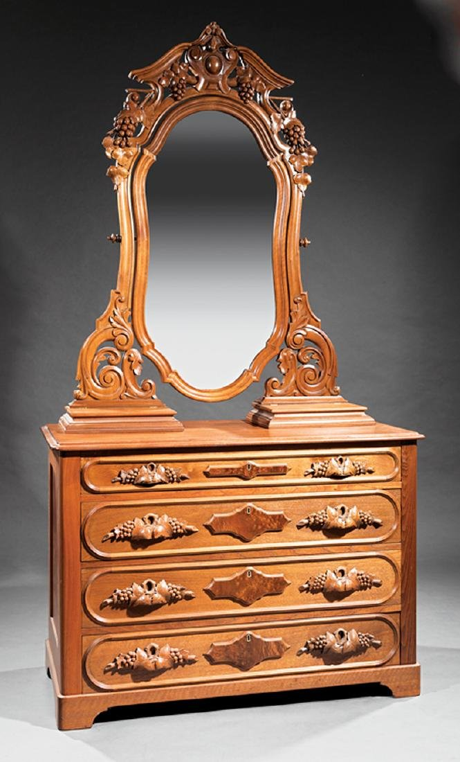 American Rococo Carved Walnut Bedroom Suite