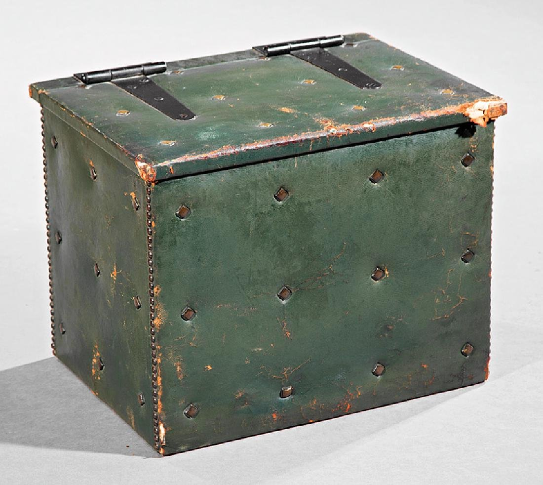 Antique Green Leather Coffer