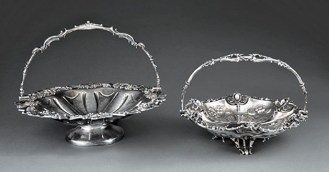 Two English Silverplate Cake Baskets