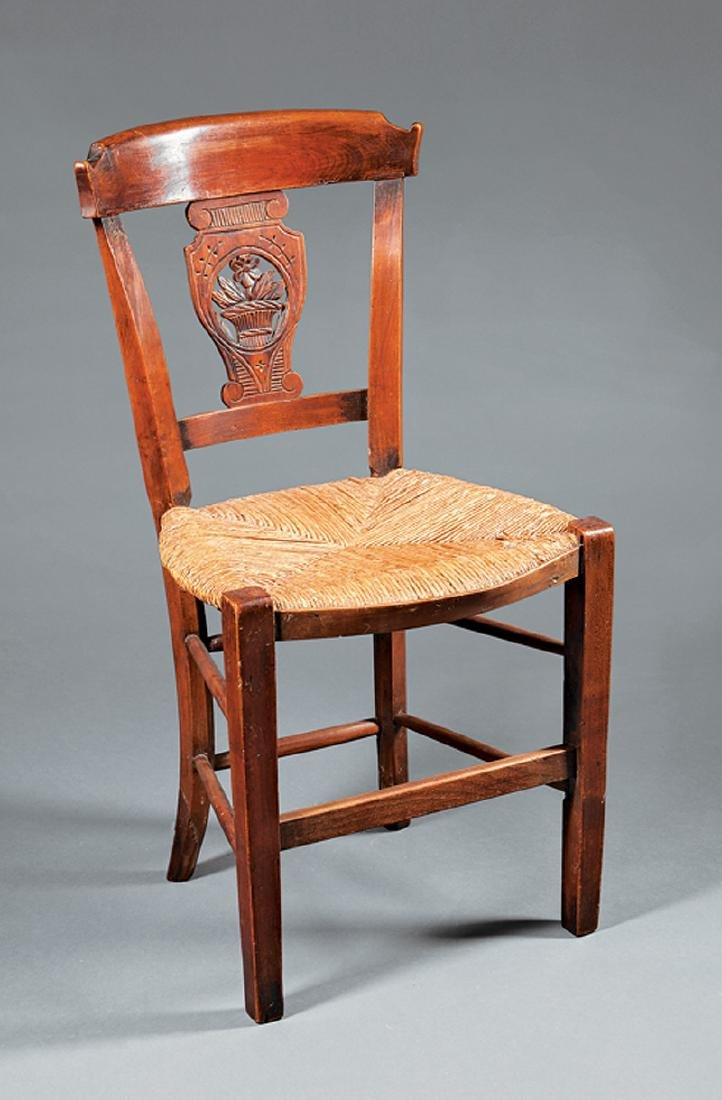 French Provincial Carved Fruitwood Side Chair