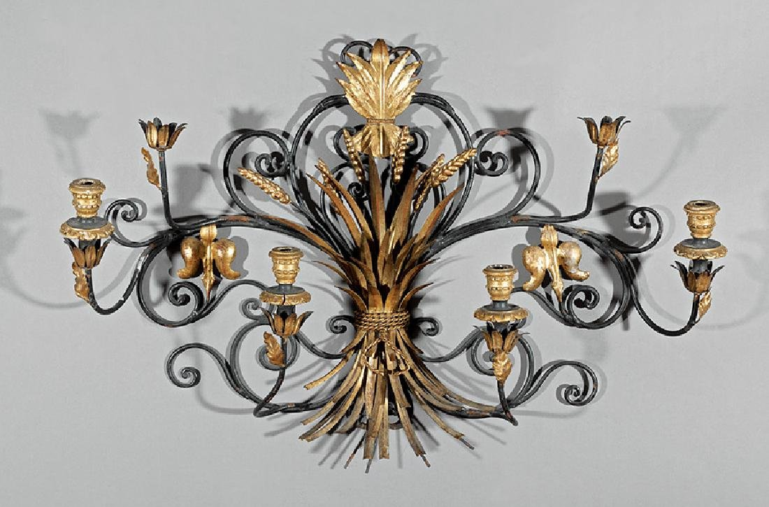 French Wrought Iron Four-Light Sconce