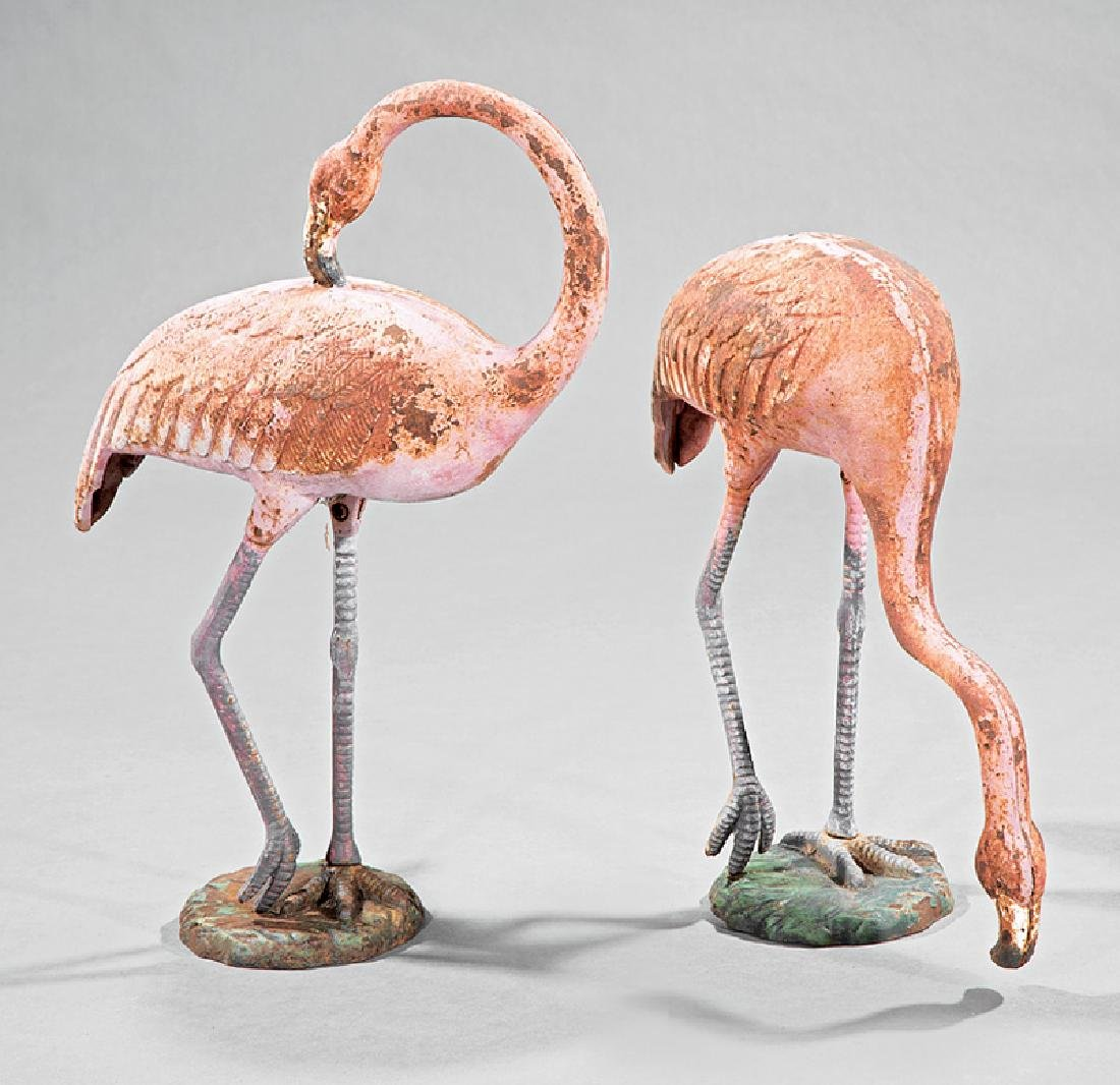 Pair of Cast Iron Garden Sculptures of Flamingos