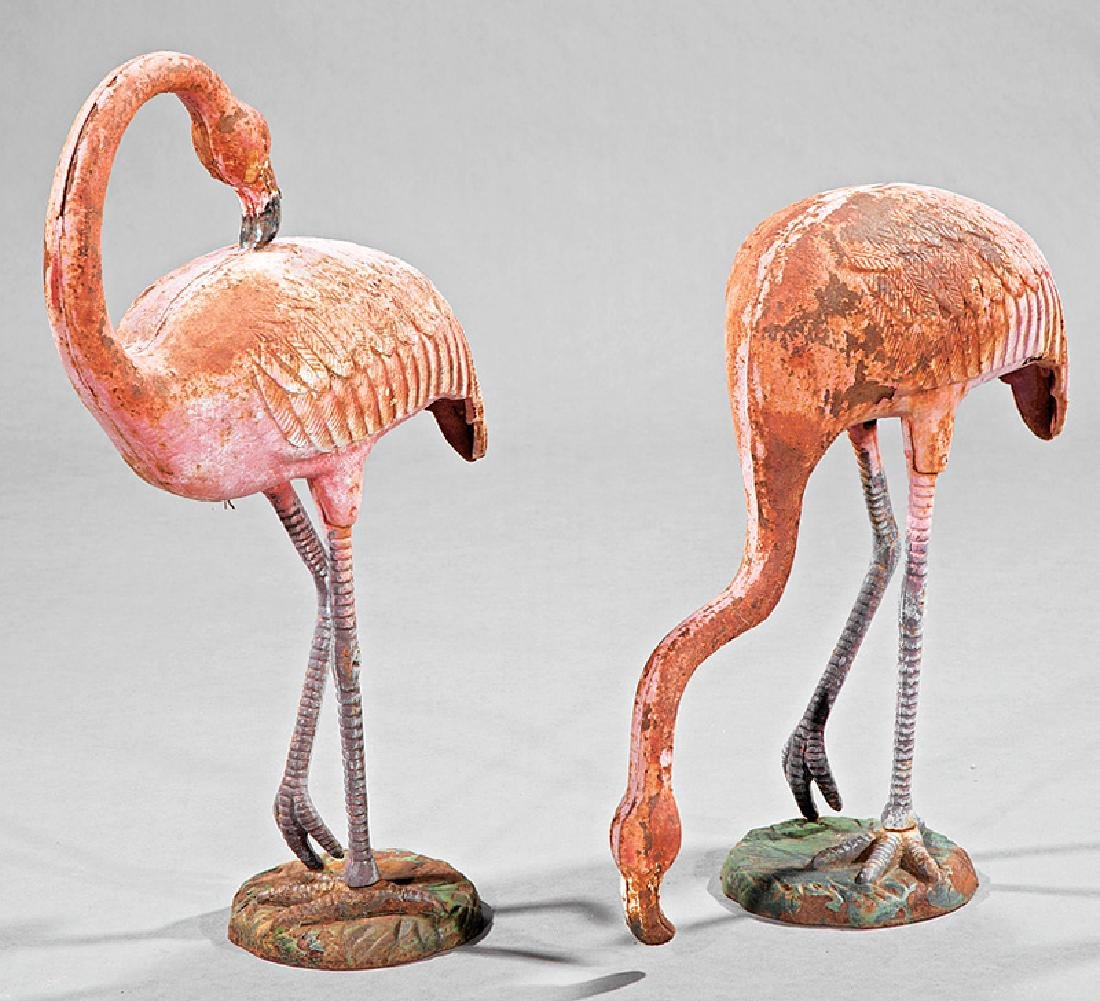 Pair of Cast Iron Garden Sculptures of Flamingos - 2