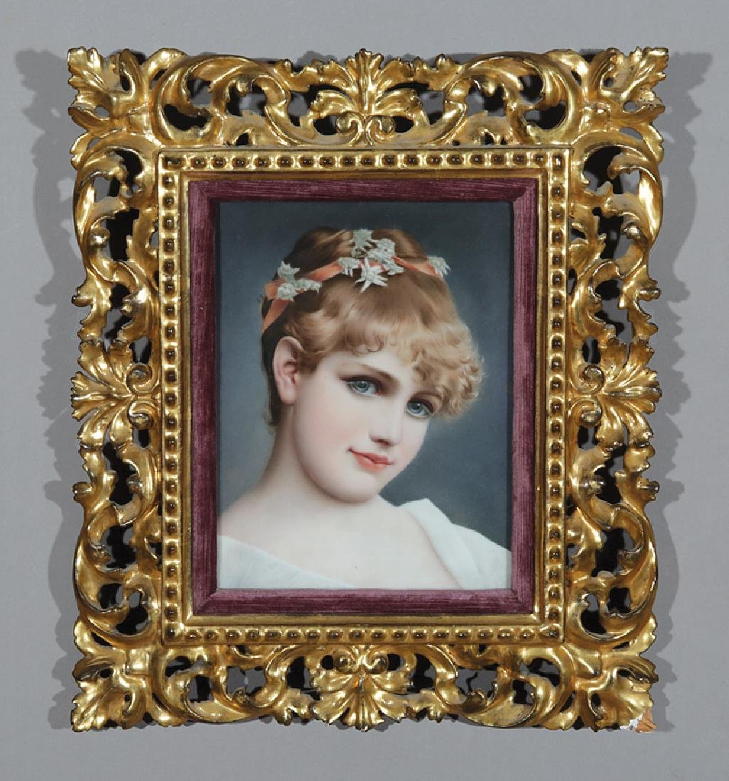 Continental Porcelain Plaque of a Young Beauty