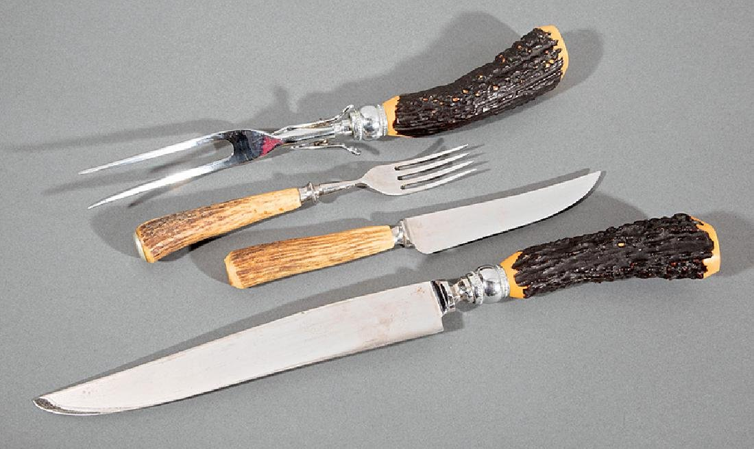 Six English Horn-Mounted Knives and Forks