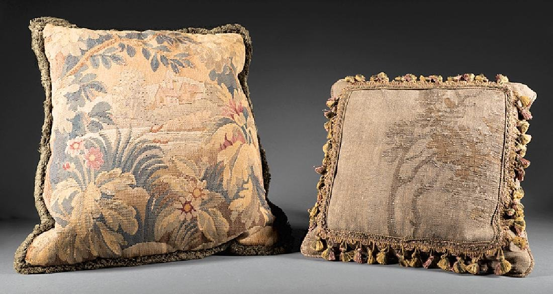 Two Aubusson Tapestry Pillows