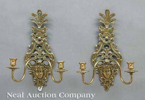 Pair of Empire-Style Brass Two-Light Sconces