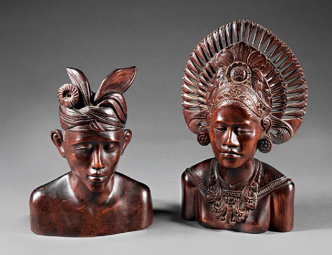 Two Haitian Carved Wood Busts