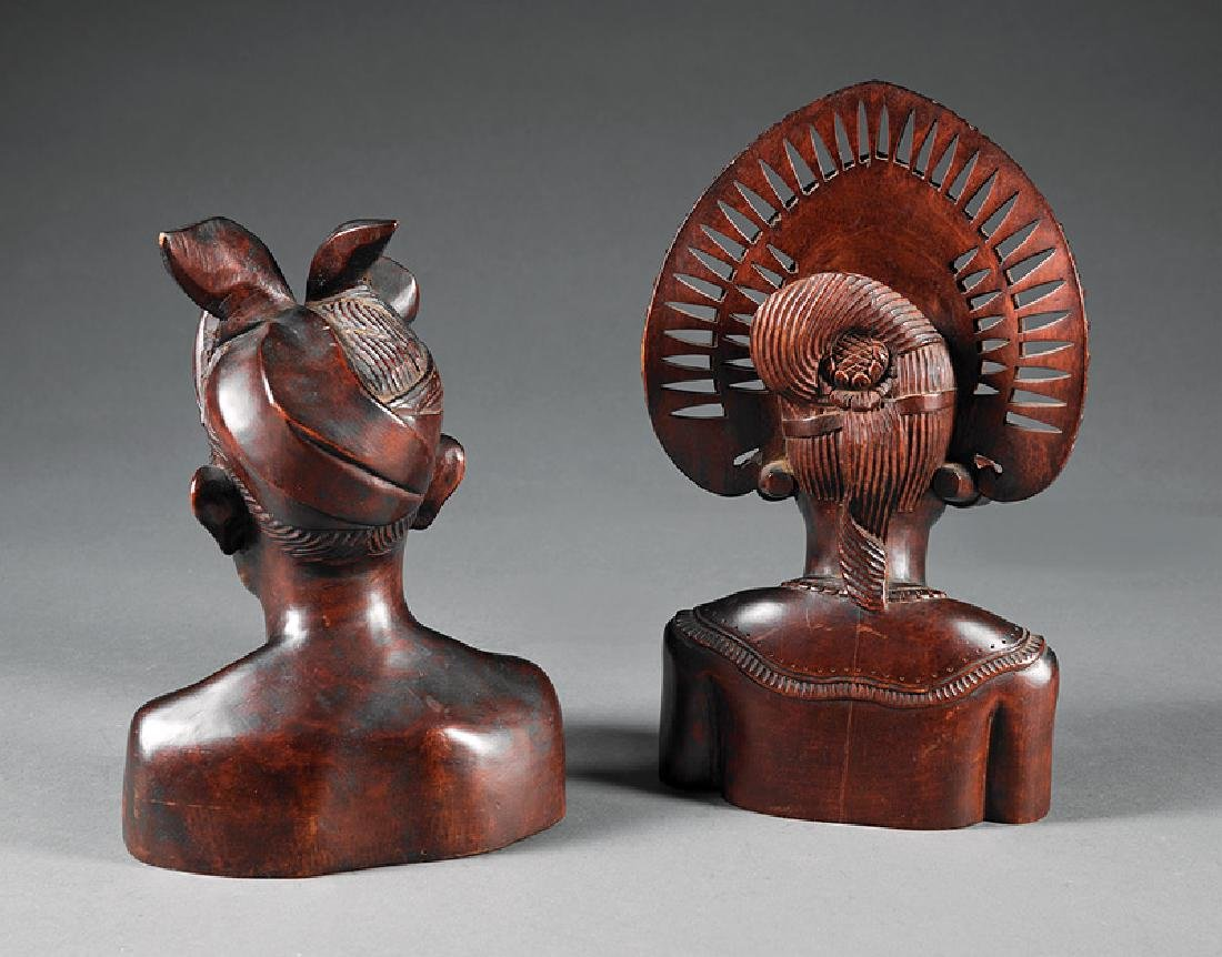 Two Haitian Carved Wood Busts - 2