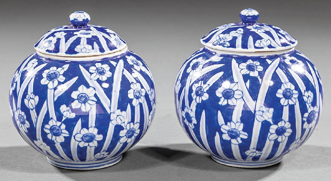 Pair of Japanese Blue and White Porcelain Vases