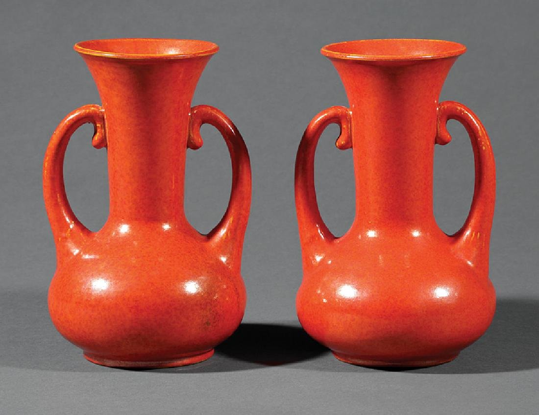 Pair of Japanese Awaji Pottery Vases