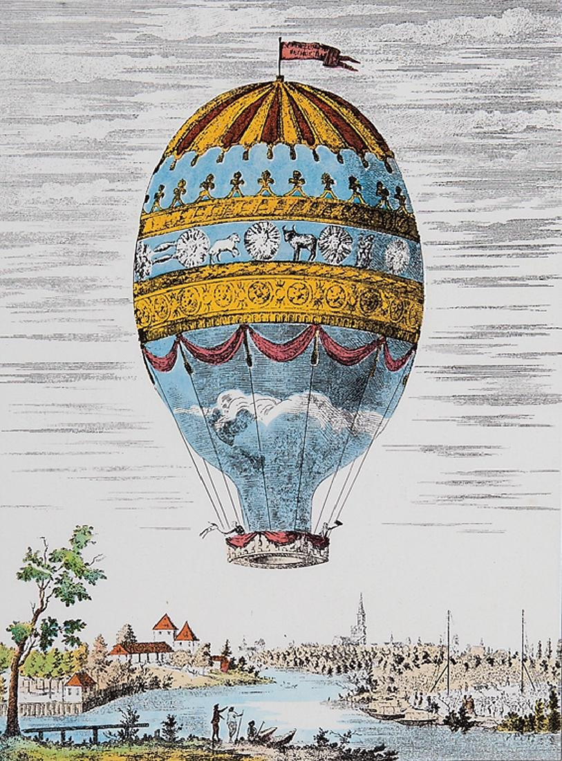 Four Decorative Prints of Hot Air Balloons