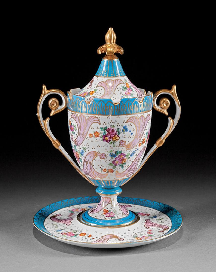 Porcelain Covered Urn with Underplate