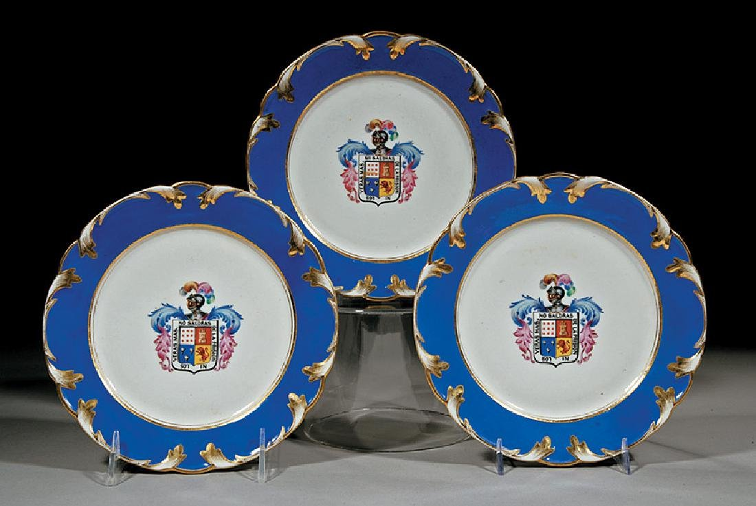 Three Continental Polychrome and Gilt Dishes