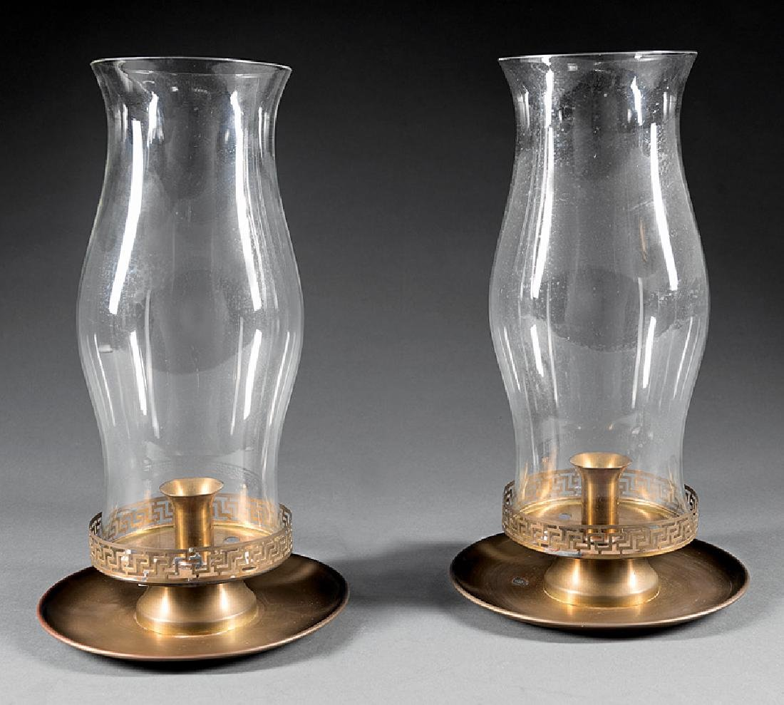 Pair of American Brass and Glass Hurricane Lamps
