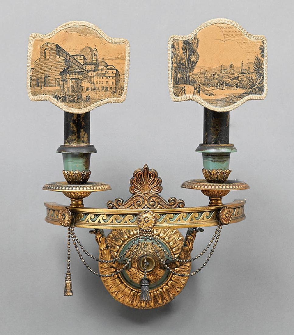 Empire-Style Gilt and Patinated Metal Sconce