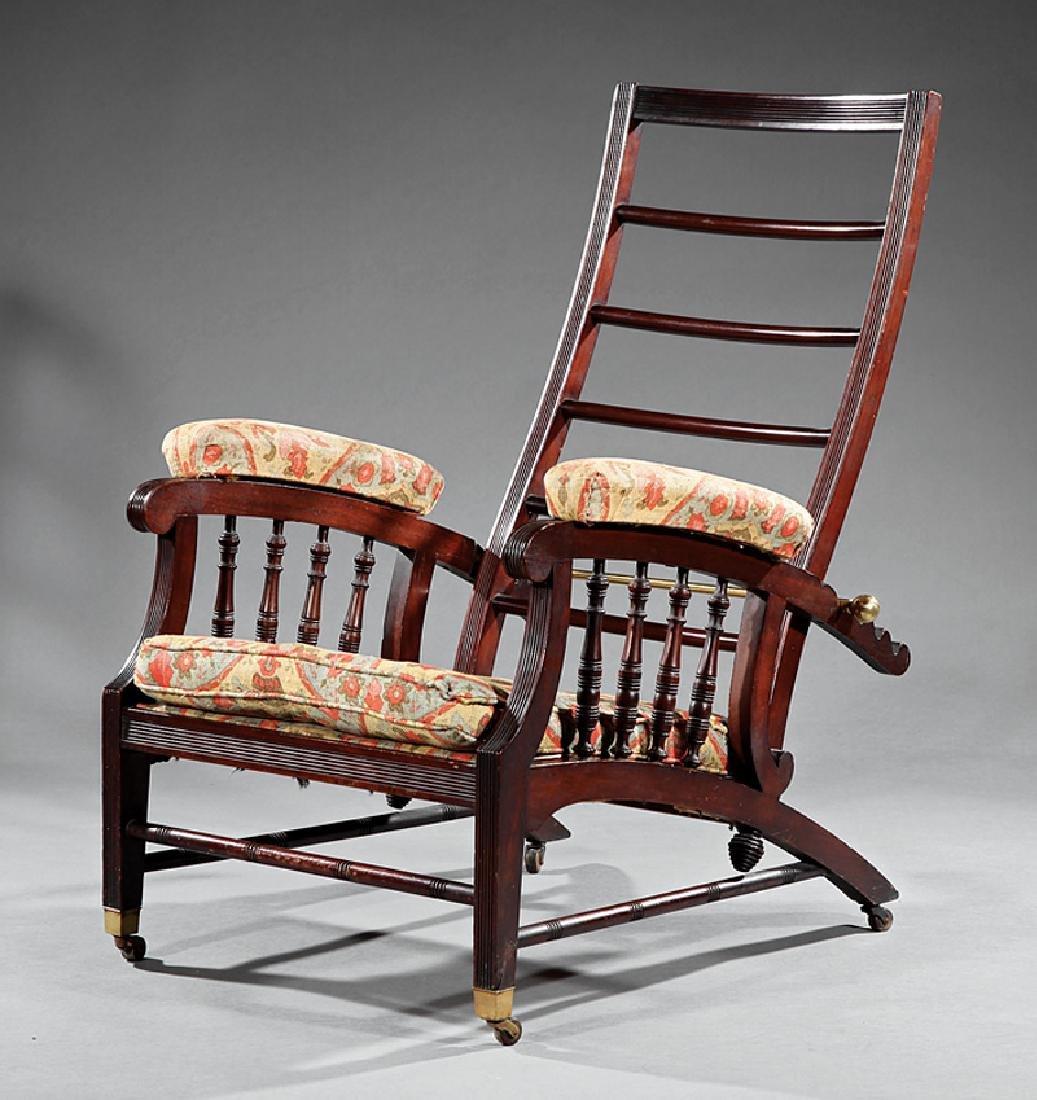 """Mahogany """"Morris"""" Chair probably Allen & Bro."""