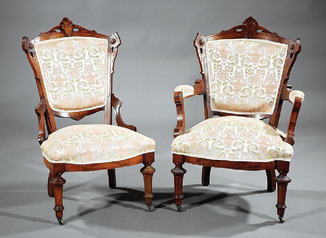 American Renaissance Armchair and Ottoman