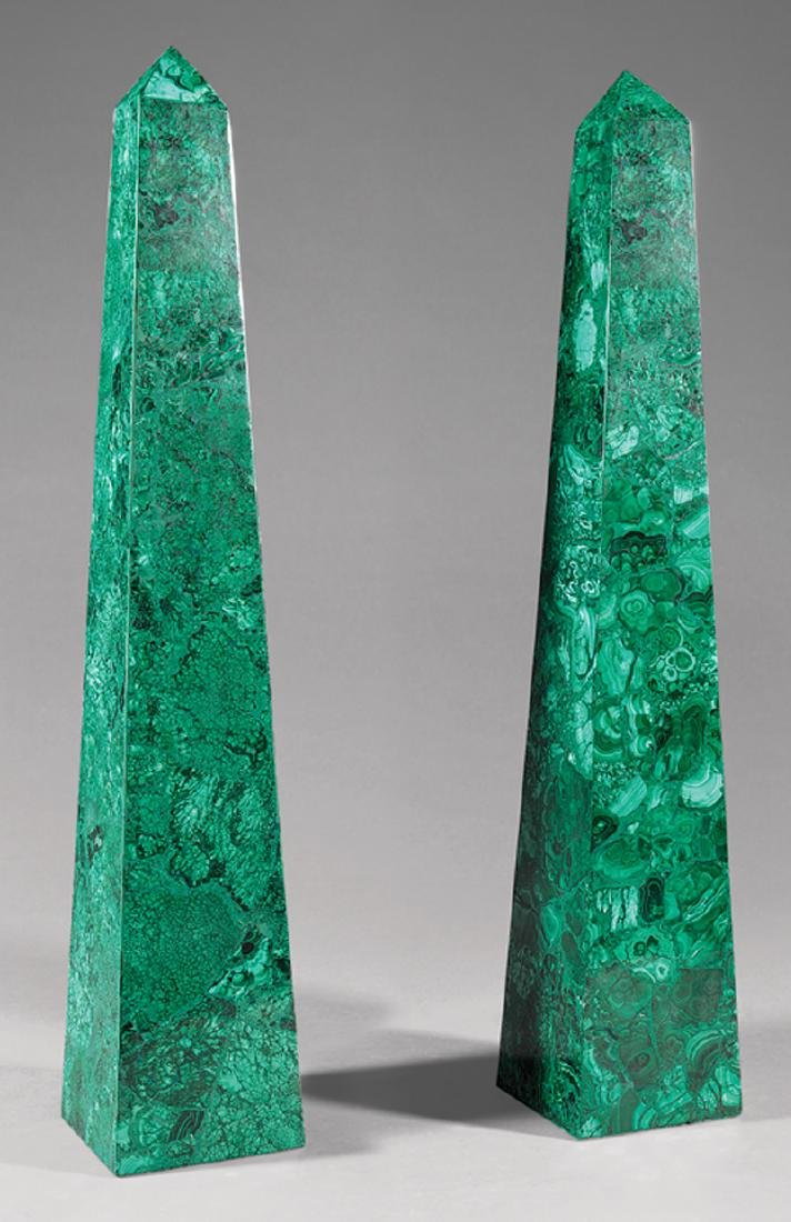 Pair of Continental Malachite Obelisks