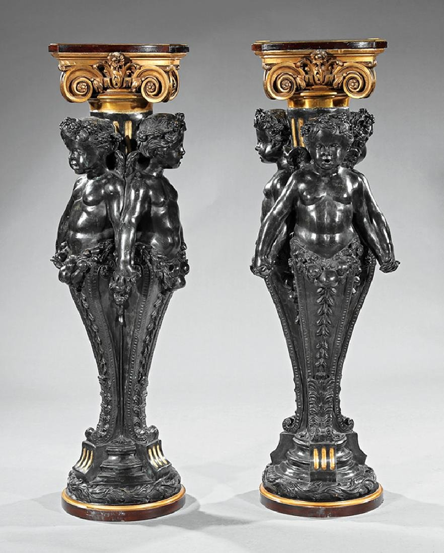Patinated and Gilt Bronze Pedestals