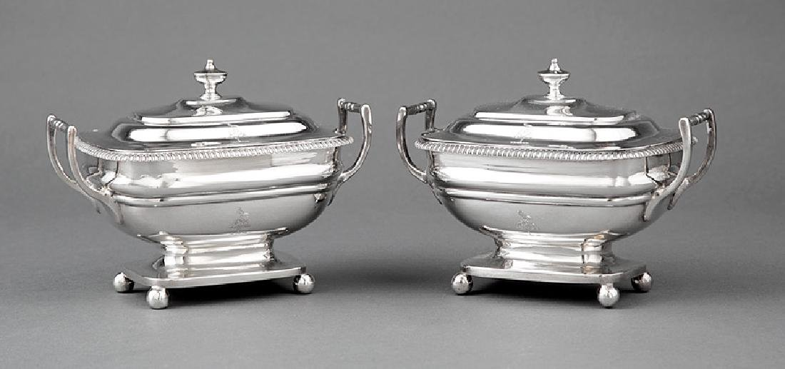 Regency Sterling Silver Covered Sauce Tureens