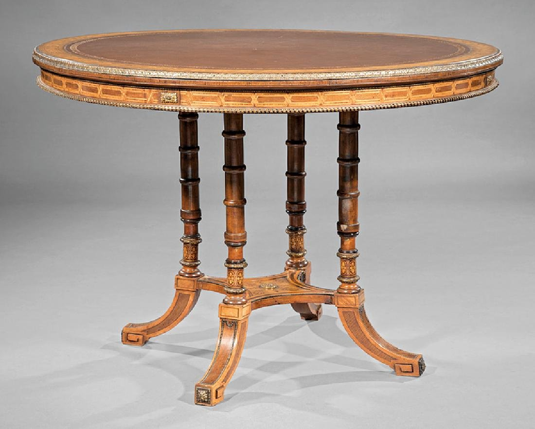 Bronze-Mounted, Inlaid Satiwood Center Table
