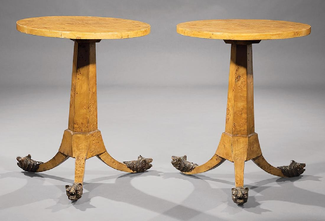Biedermeier Karelian Birch Occasional Tables