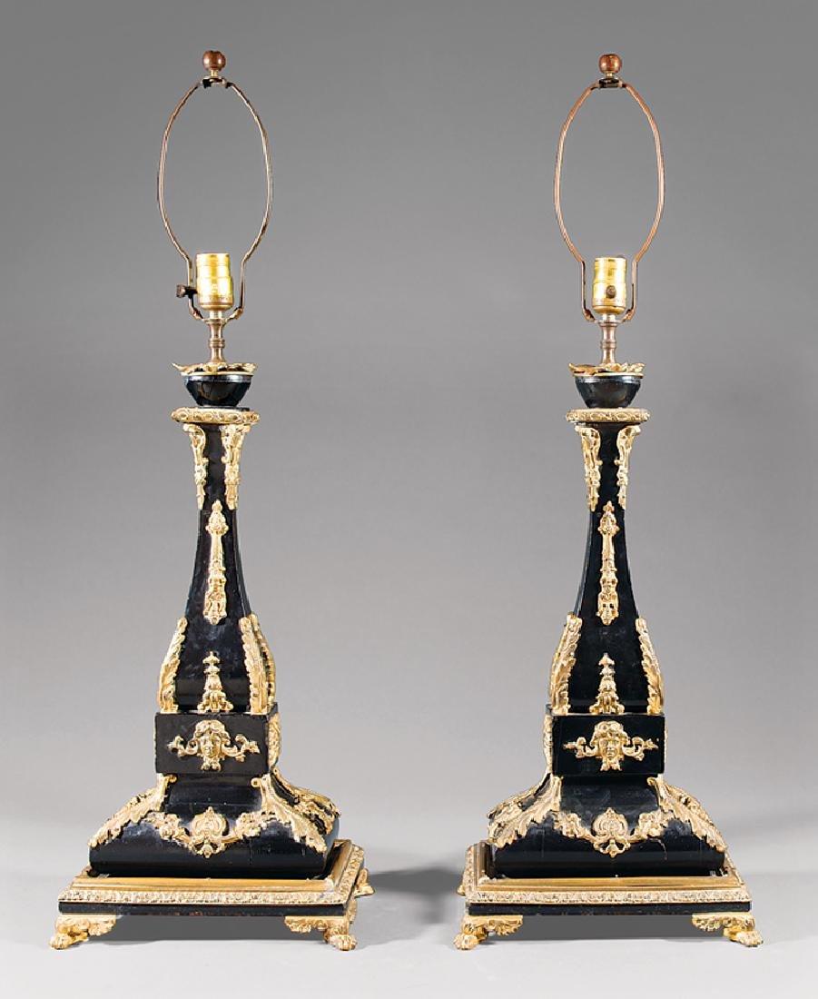 Gilt Bronze-Mounted and Ebonized Lamps
