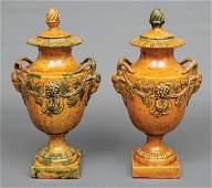 Yellow Glazed Earthenware Covered Urns
