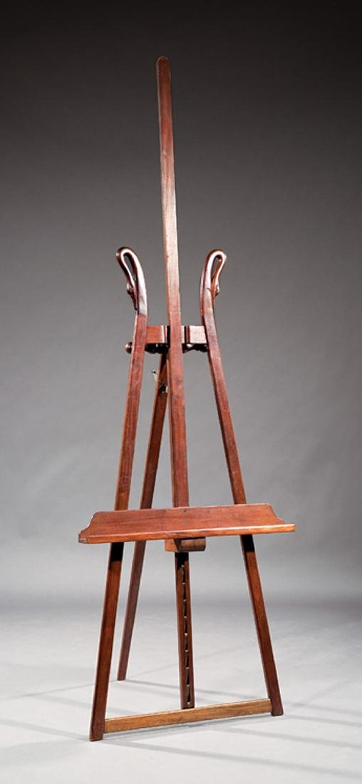 Carved Mahogany Swan's Neck Adjustable Easel