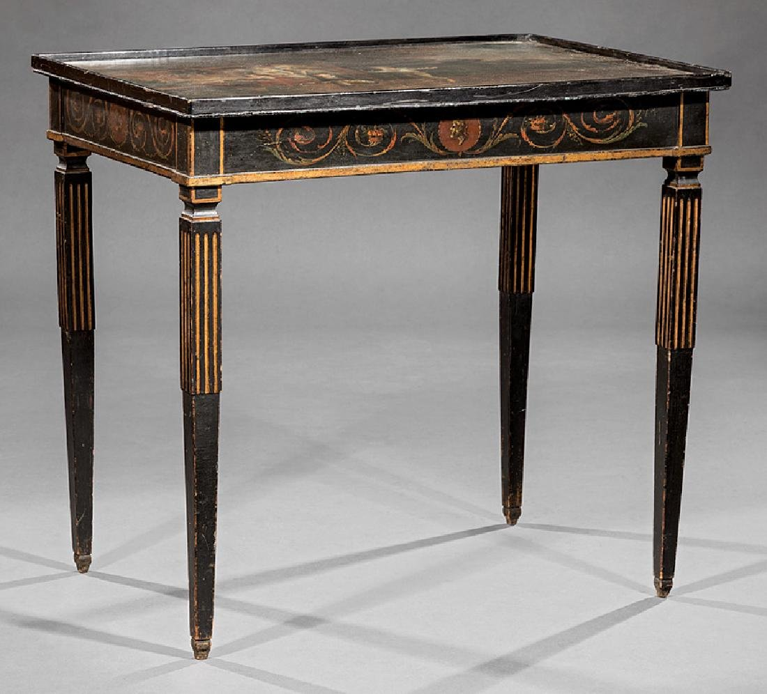 Polychromed and Parcel Gilt Tray Top Table