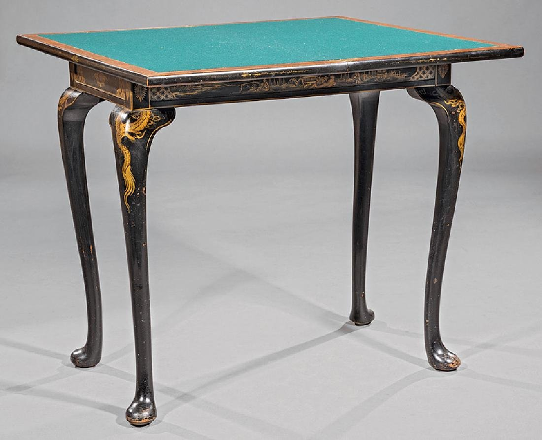 Chinoiserie Lacquered and Gilt Games Table