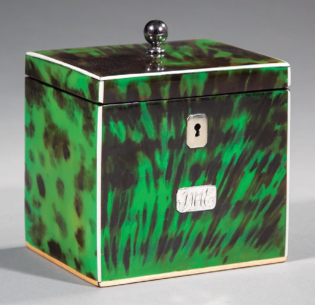 George III Green Tortoiseshell Tea Caddy
