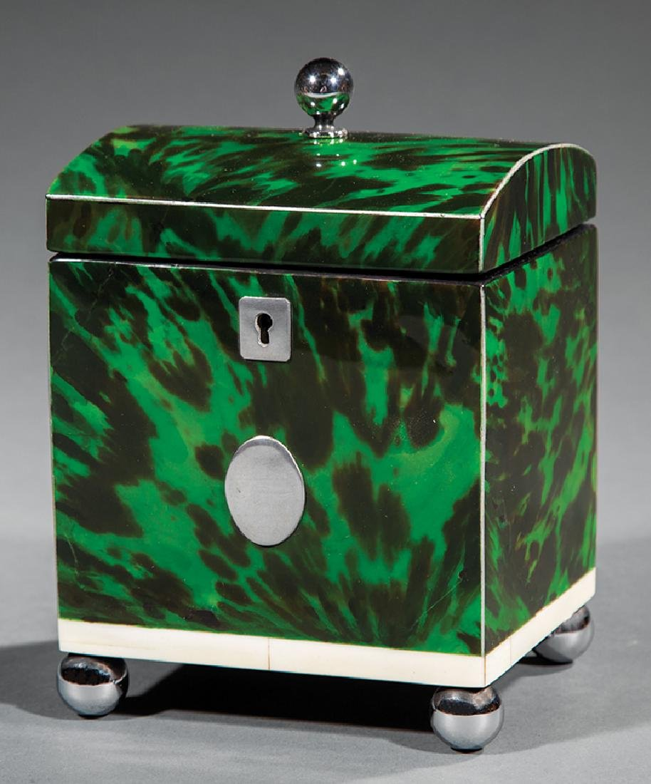 George III Green Tortoiseshell Tea Caddy - 3