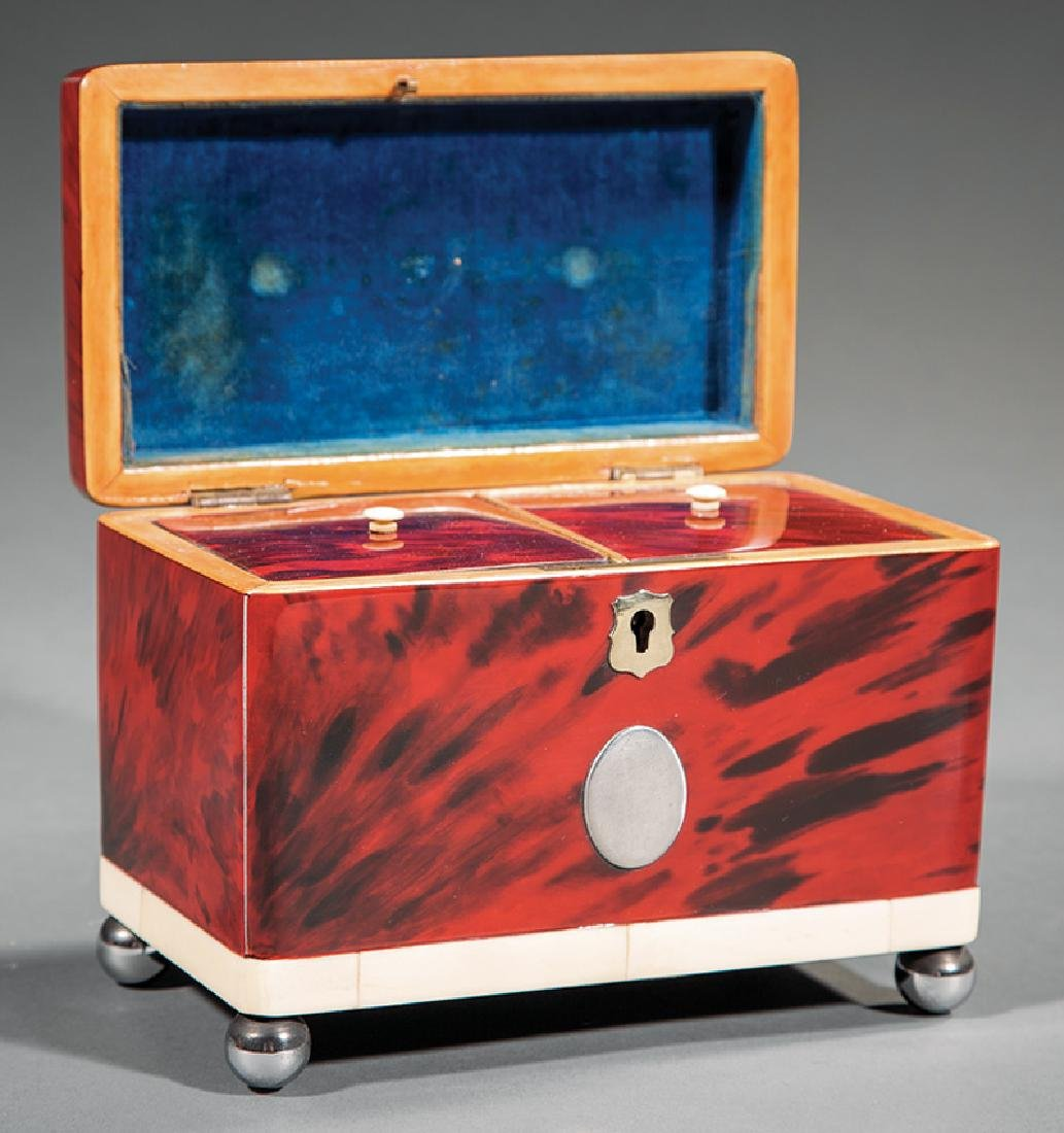 George III Red Tortoiseshell Tea Caddy - 2