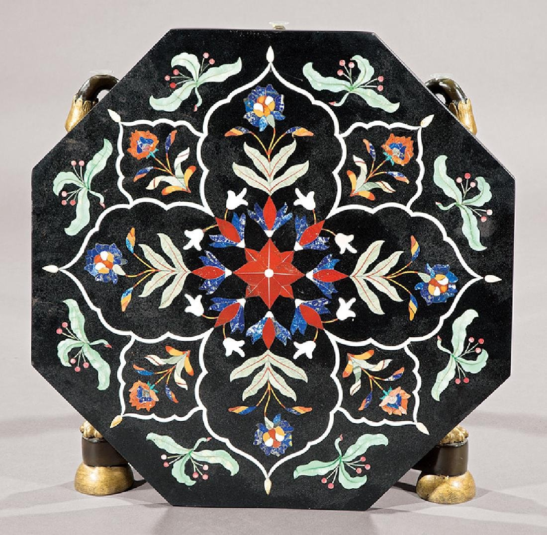 Pietra Dura, Patinated Gilt Bronze Table - 2
