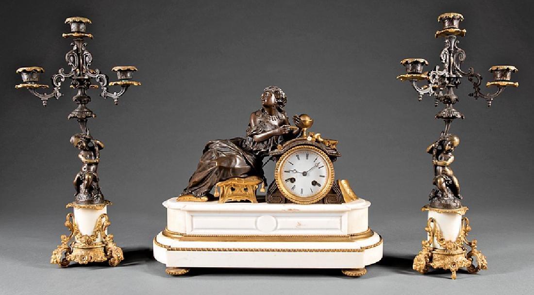 Gilt, Patinated Bronze, Marble Clock Garniture